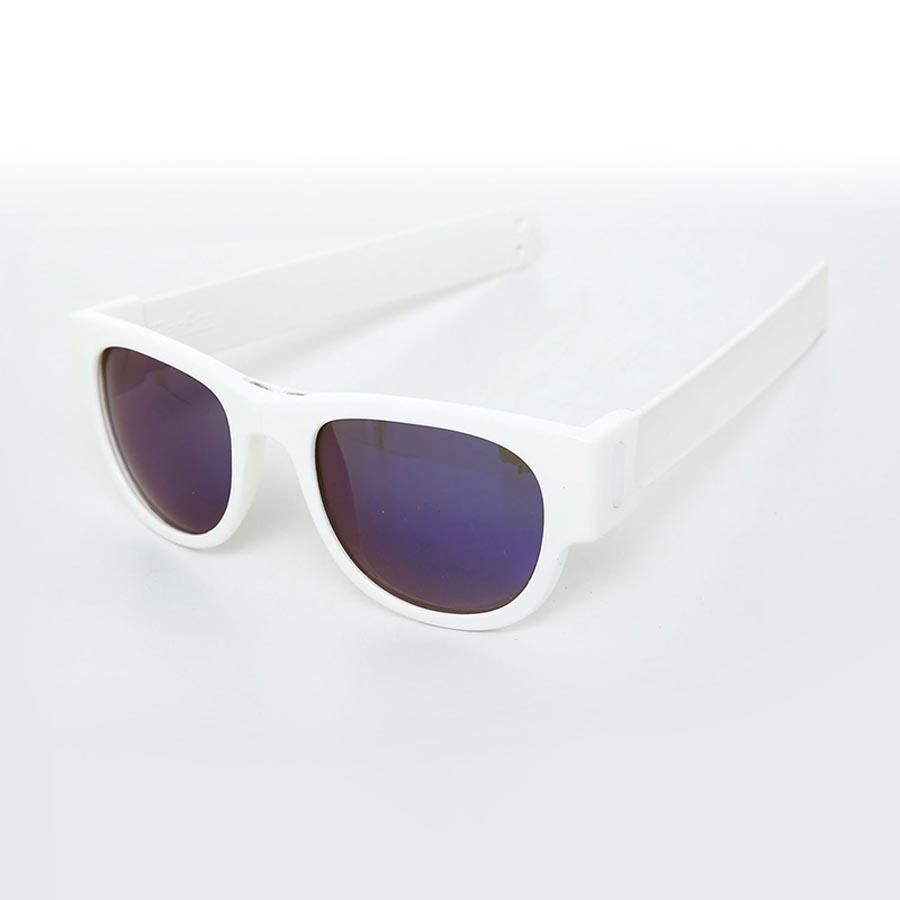 e135e74864 SlapSee Pro Folding Wrist Slapping Sunglasses - White Frame White Slap Blue  Lens - Halai Trading