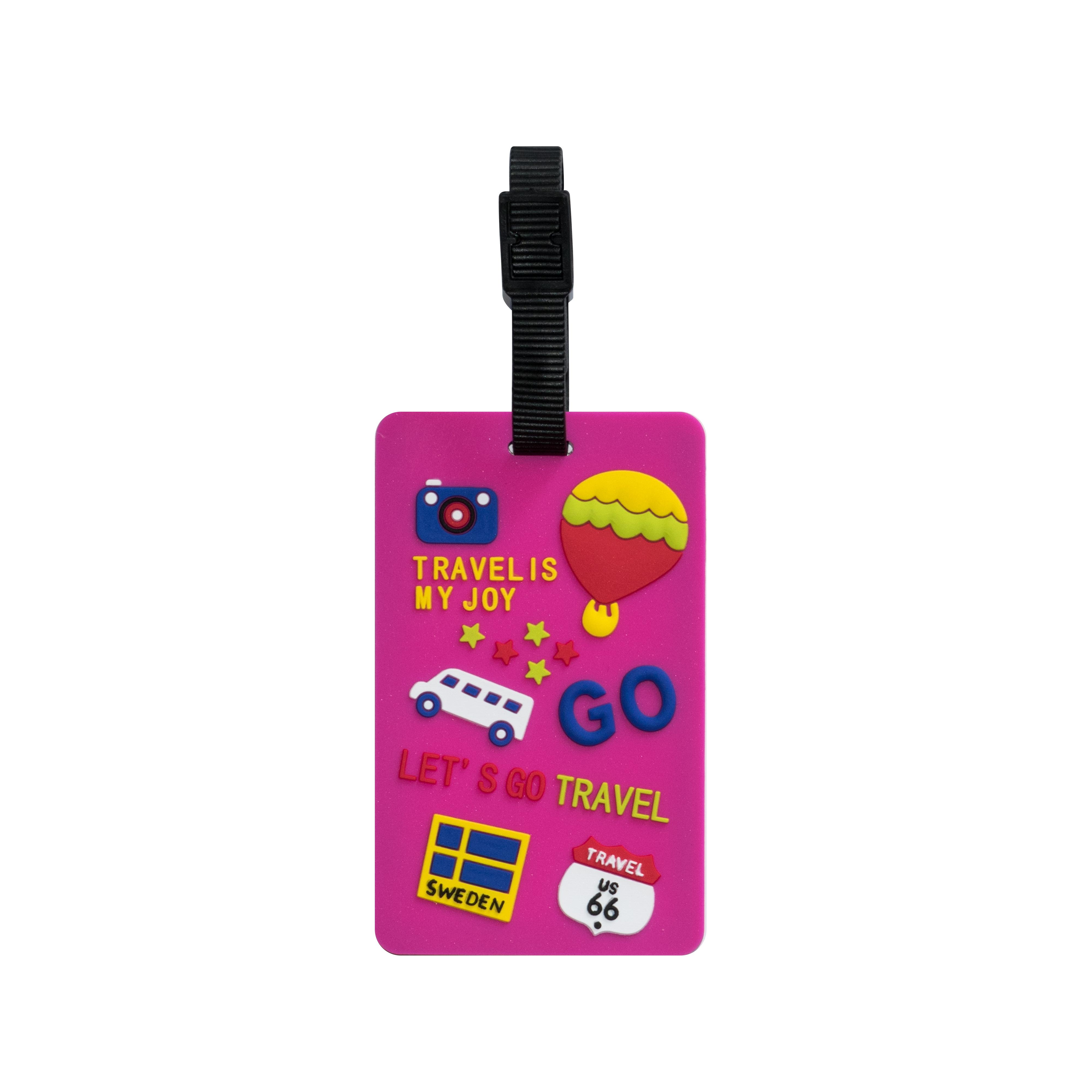 TangoTag Luggage Tag – 'Travel Is My Joy!' – Pink – HTC-TT827