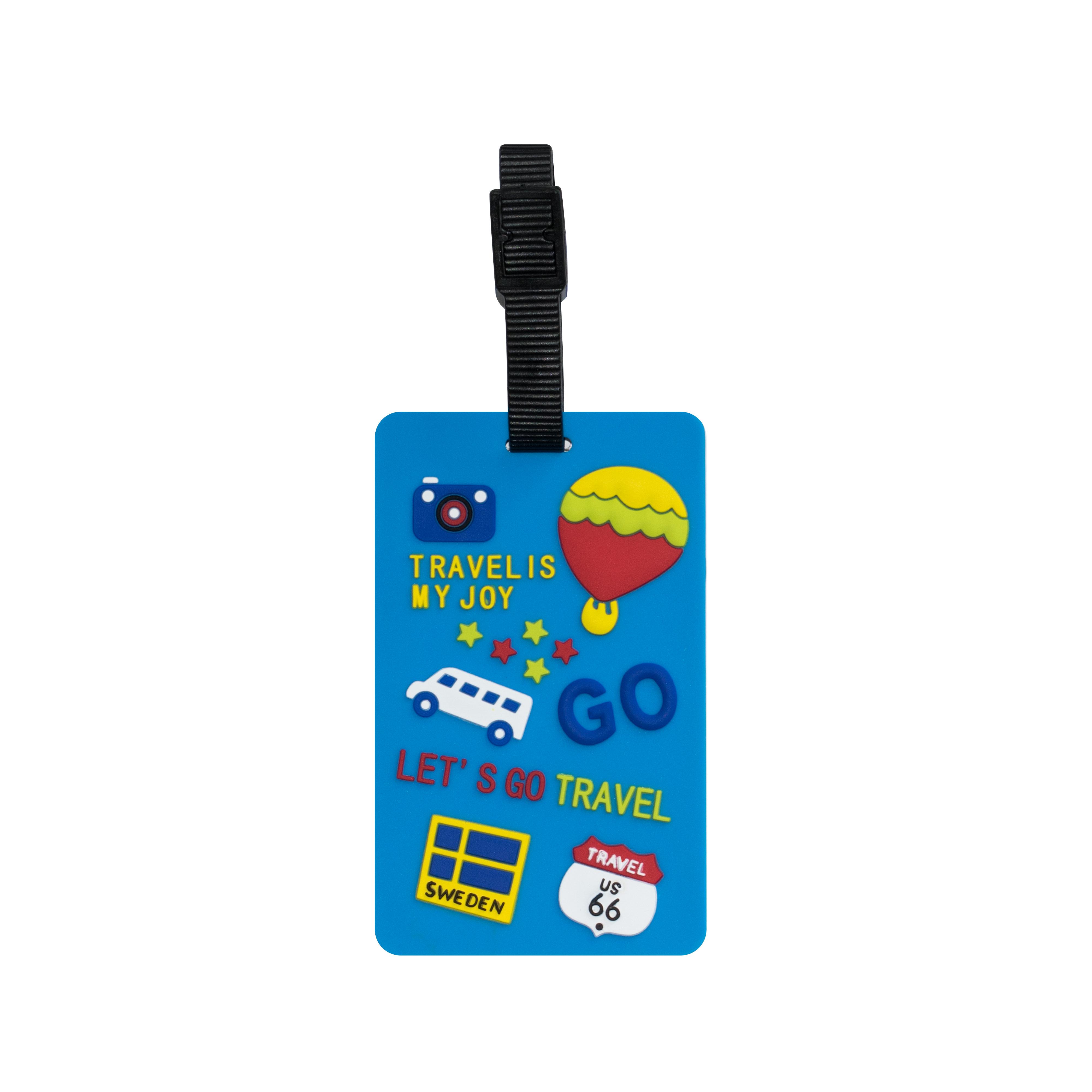 TangoTag Luggage Tag – 'Travel Is My Joy!' – Blue – HTC-TT828