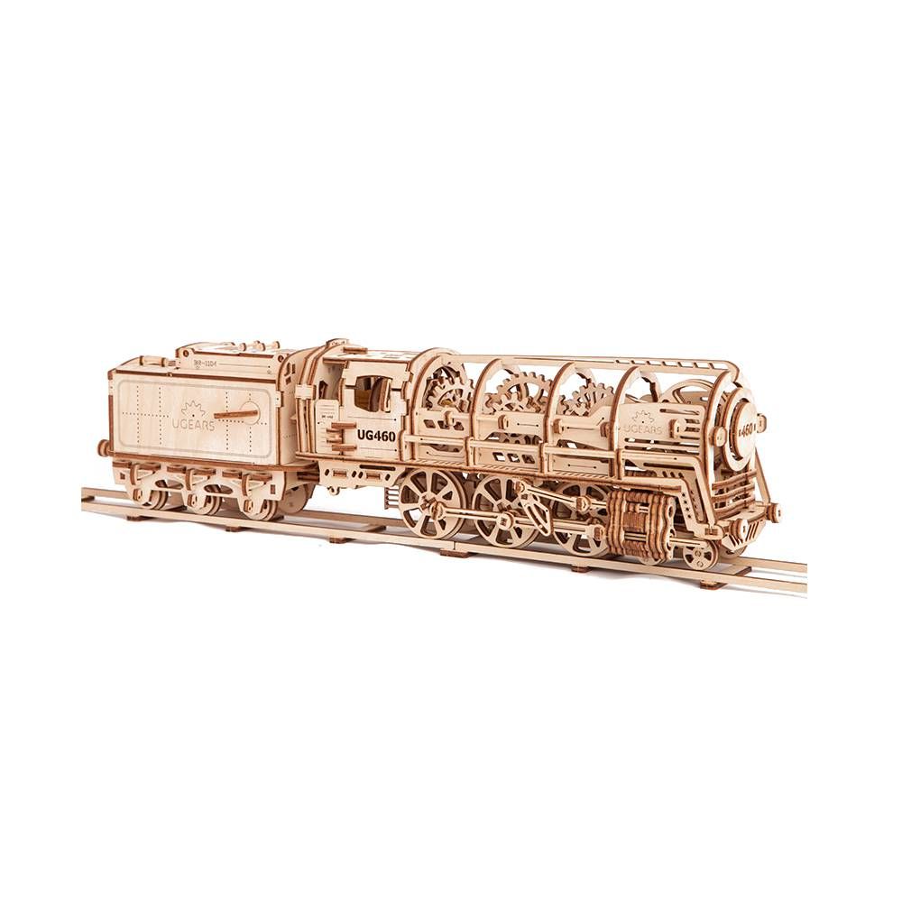 Ugears Steam Locomotive With Tender – 480 Parts – 3D Wooden Puzzle – Mechanical Model – UGR-70012