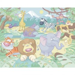 Walltastic - Baby Jungle Safari Wallpaper Mural - 12 Panels - 8 x 10 ft - WTC-40595